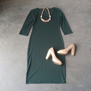 Forever 21 Green Midi Sheath Dress medium